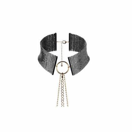 collar al pecho metalizado negro tipo joya desir metallique