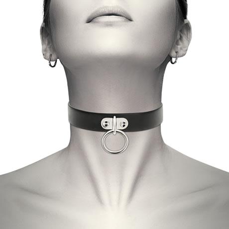 collar cuero con anilla de enganche coquette