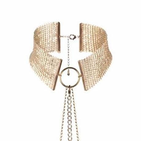 collar metalizado dorado tipo joya desir metallique