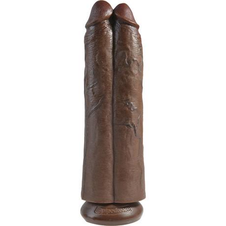 consolador doble two cocks marron 11 king cock
