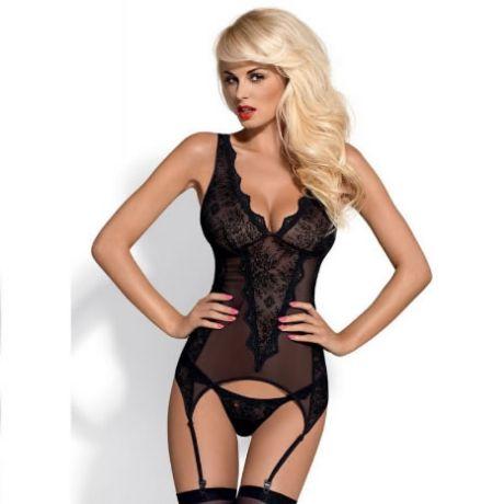 corset con tanga emperita negro