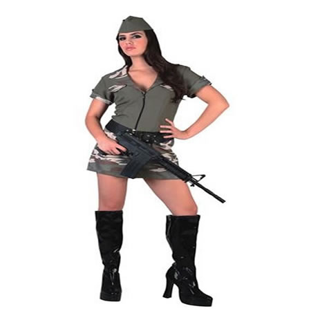 disfraz de militar camuflaje sexy mujer