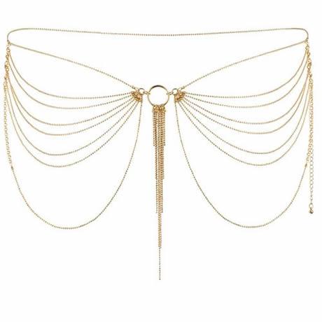 joyas de cadenas metalicas doradas para cintura magnifique