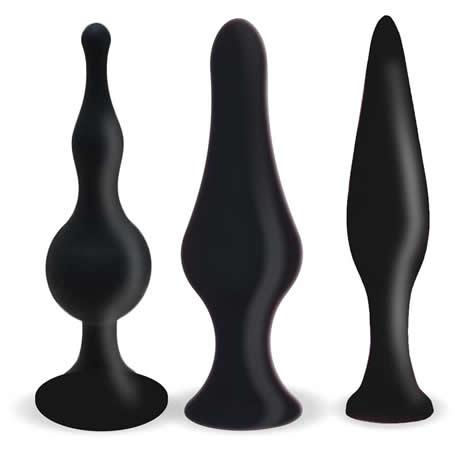 kits 3 plugs anal silicona negro