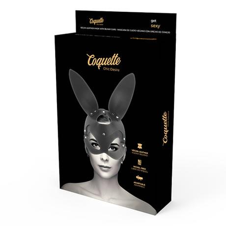 mascara cuero vegano con orejas conejo coquette