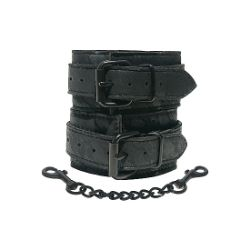esposas con cadena cuero negro sportsheets