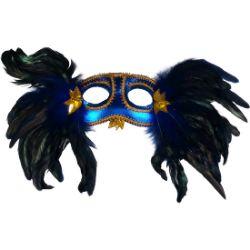 antifaz pretty azul con plumas