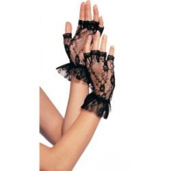 LEG AVENUE BLACK FINGERLESS LACE GLOVES