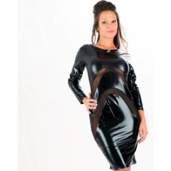 vestido sexy negro vinilo y transparencias