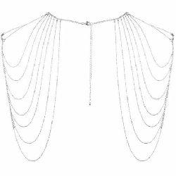 joyas de cadenas metalizadas para hombros y espalda plateadas