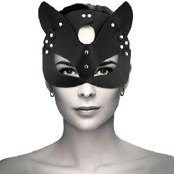 mascara cuero vegano con orejas de gato coquette