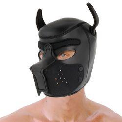 mascara de perro negro con hocico extraibles talla m