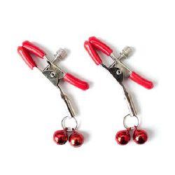 pinzas para pezones metal con cascabeles rojo