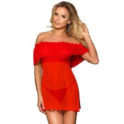 vestido corto y tanga rojo transparente subblime