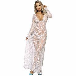 vestido largo y mangas largas transparente blanco subblime