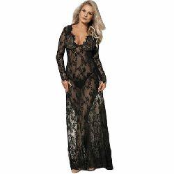 vestido largo y mangas largas transparente subblime