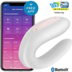 vibrador satisfyer para parejas con app double joy blanco rosa