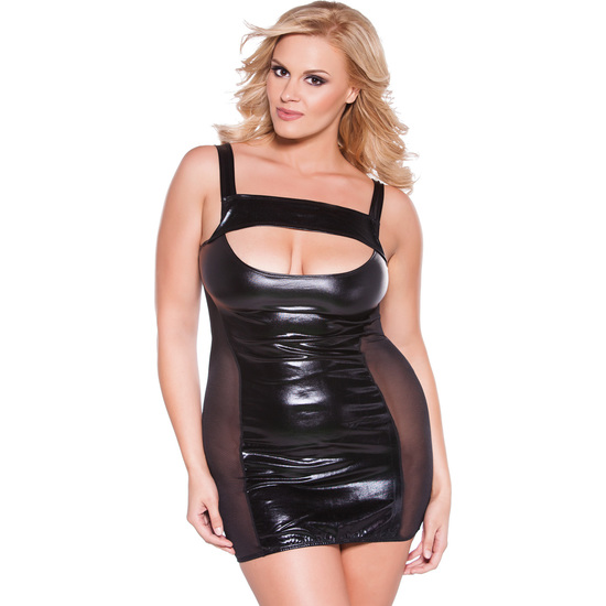 vestido transparencias kitten plus negro